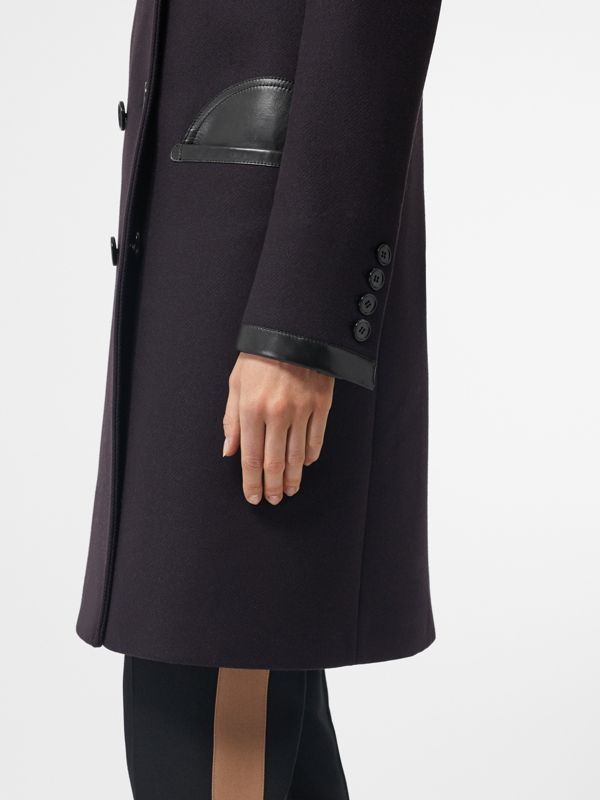 Lambskin Trim Wool Cashmere Blend Tailored Coat in Black Maroon - Women | Burberry - cell image 3