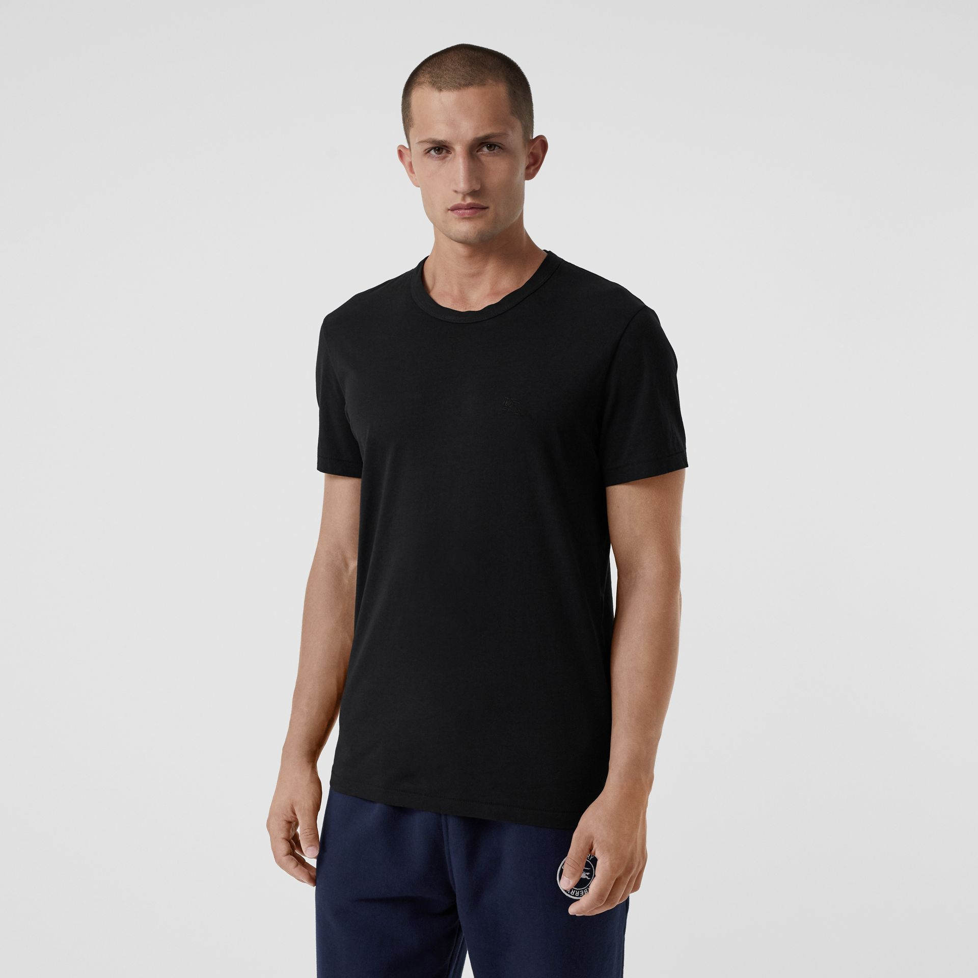 Cotton Jersey T-shirt in Black - Men | Burberry United States - gallery image 0