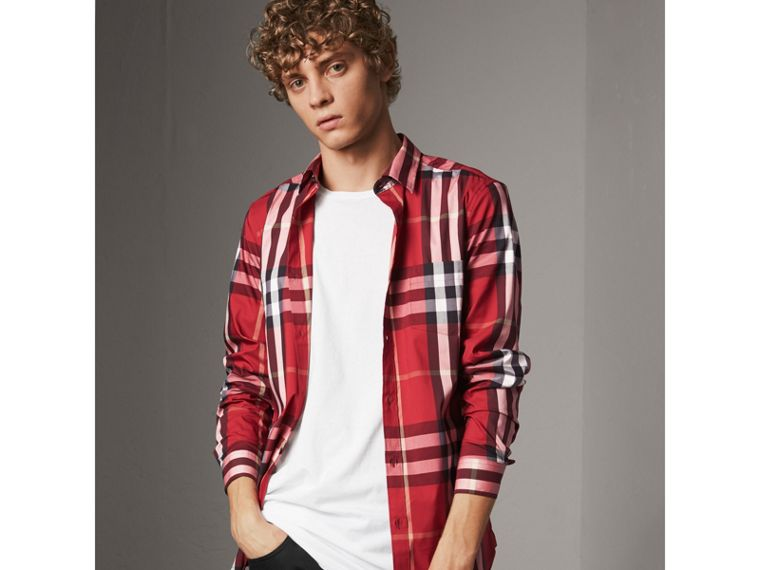 Check Stretch Cotton Shirt in Parade Red - Men | Burberry - cell image 4