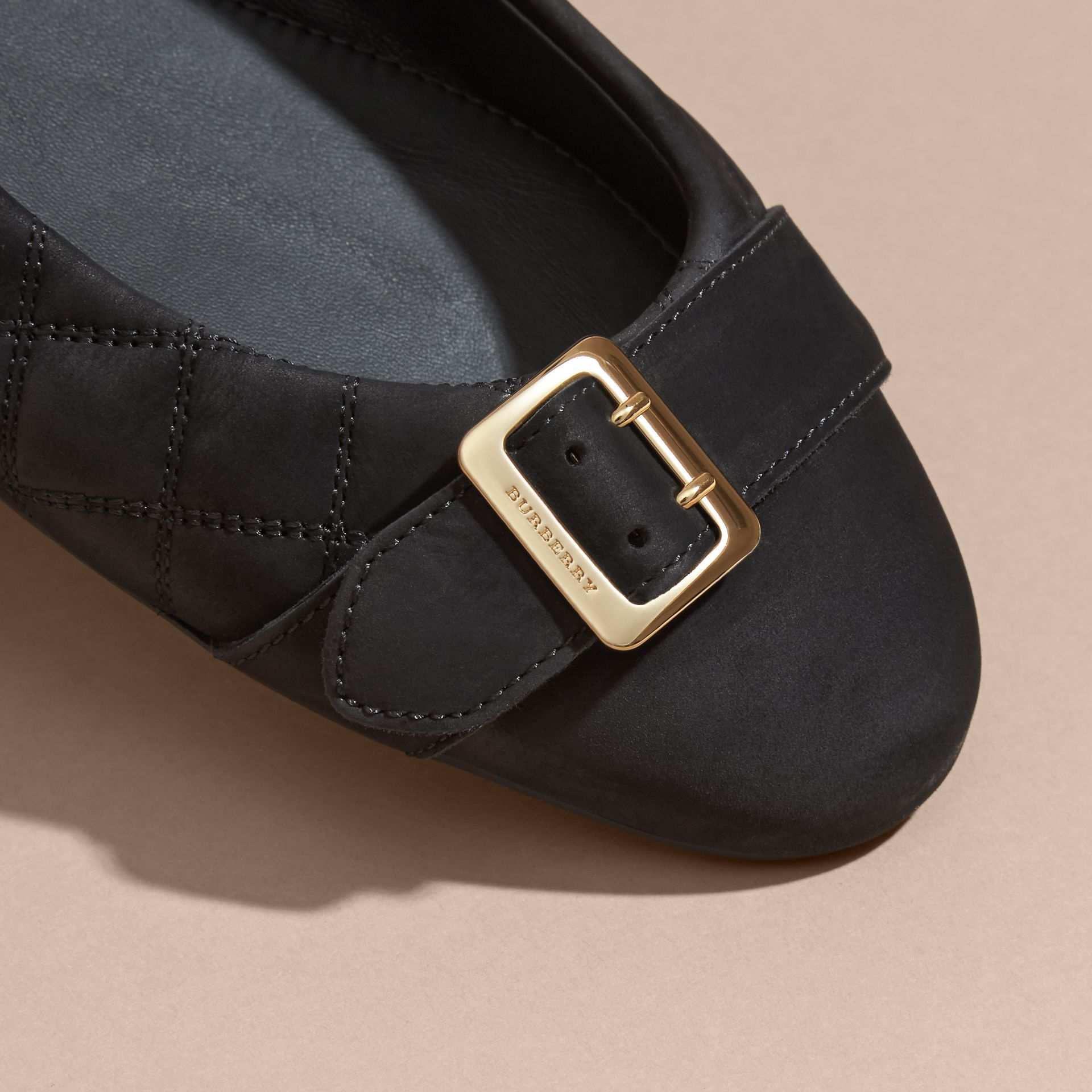 Black Buckle Detail Quilted Suede Ballerinas Black - gallery image 2