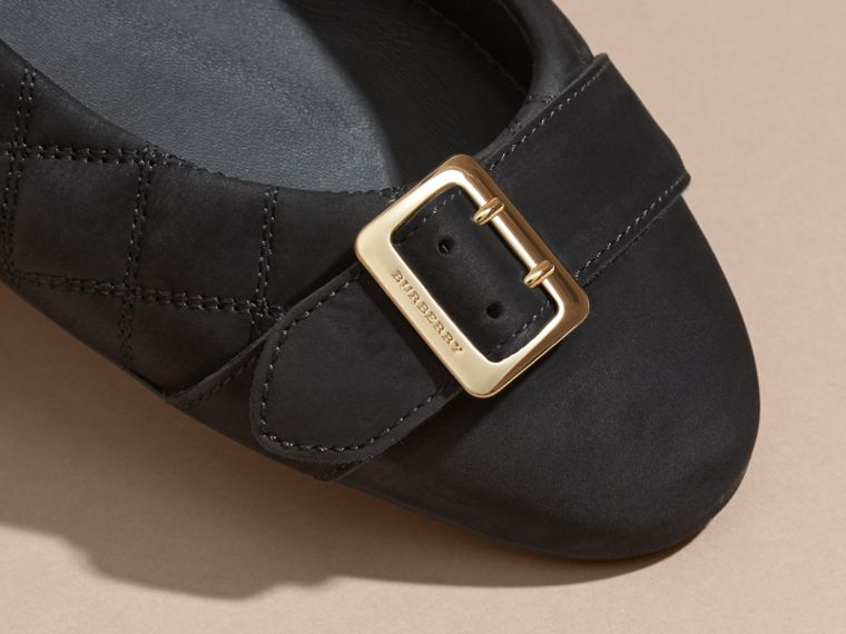 Black Buckle Detail Quilted Suede Ballerinas Black - cell image 1