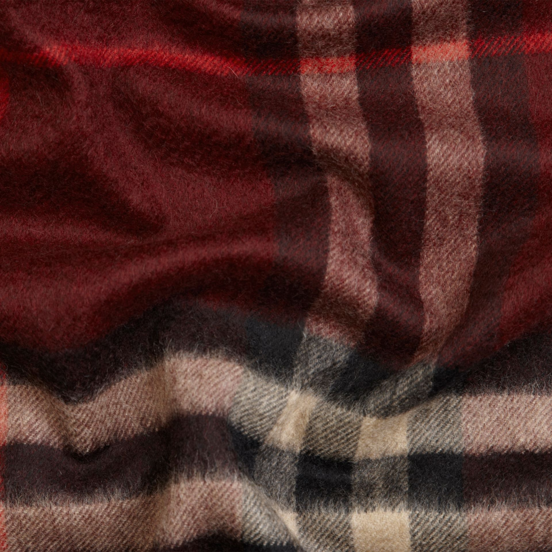 The Classic Cashmere Scarf in Check Claret - gallery image 5