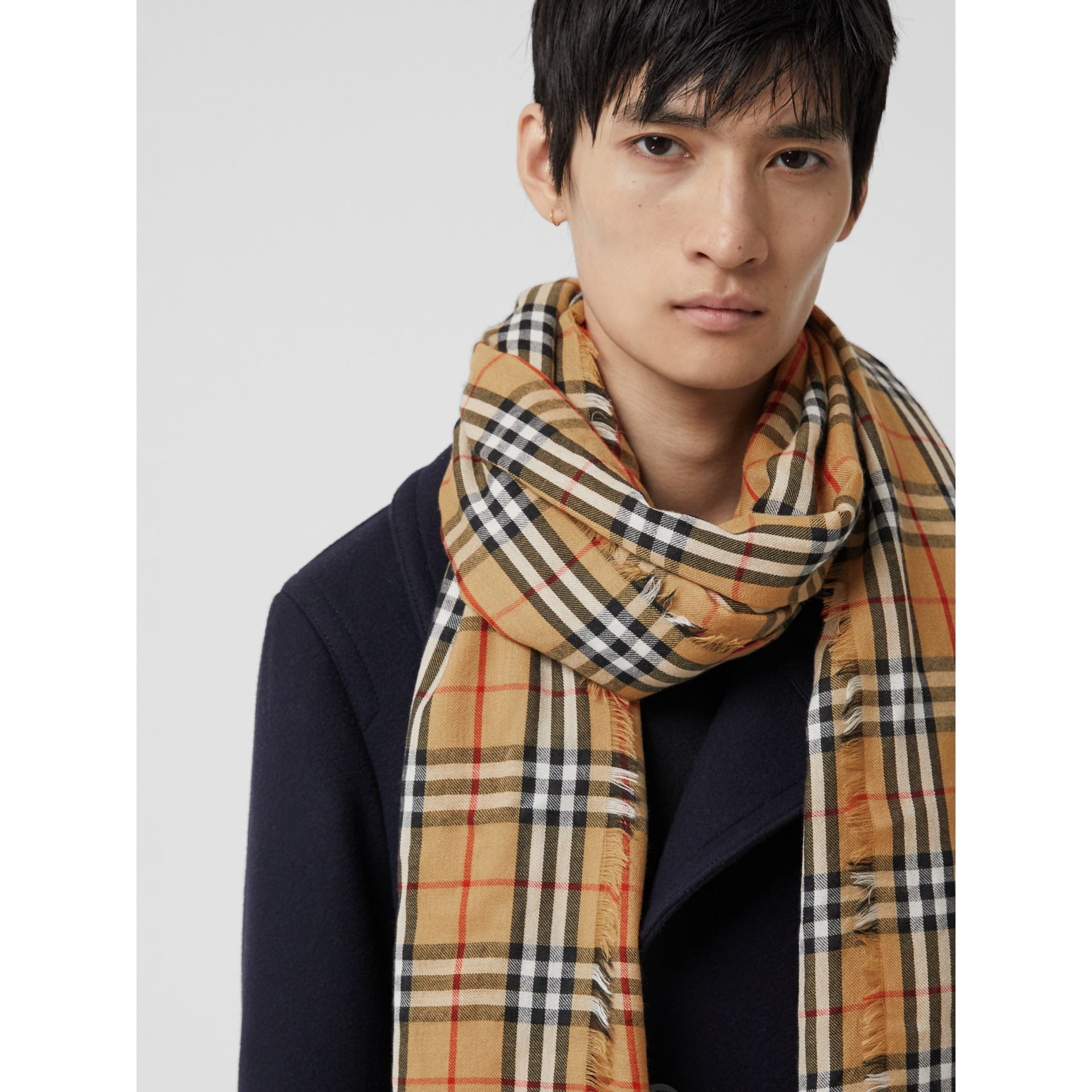 Vintage Check Lightweight Cashmere Scarf in Antique Yellow | Burberry - gallery image 6