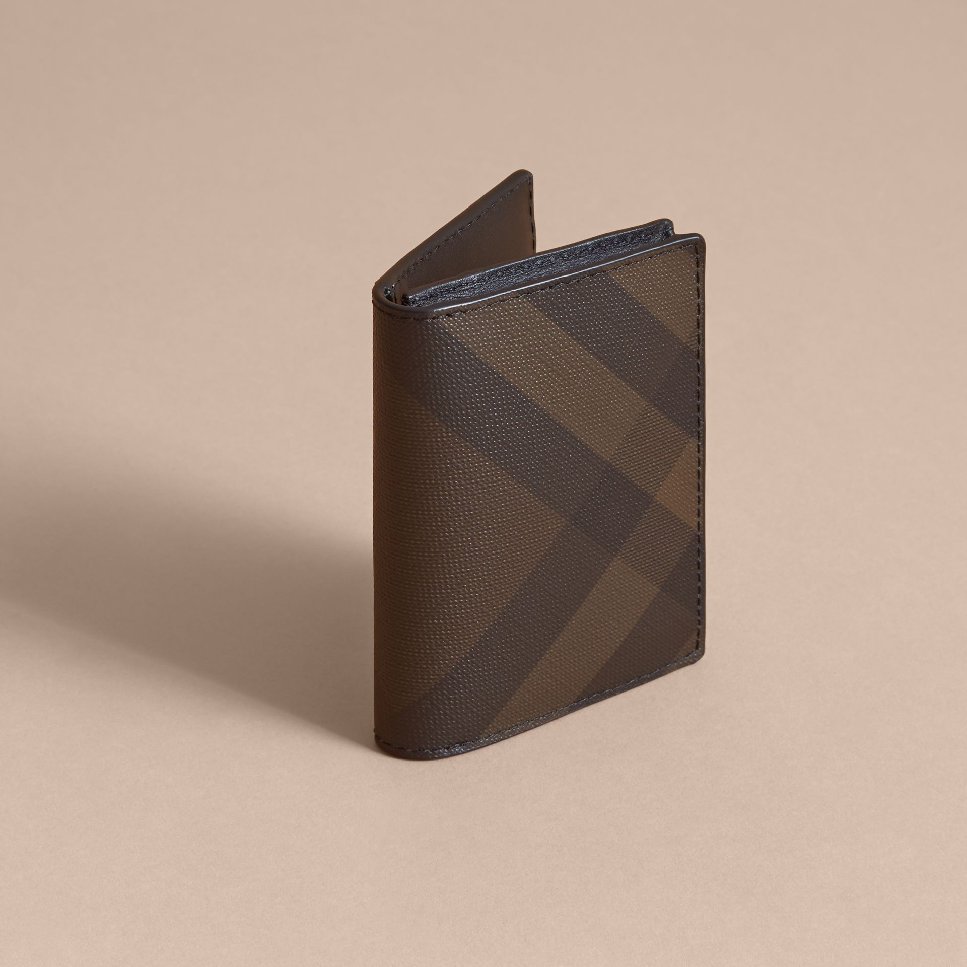 London Check and Leather Folding Card Case in Chocolate/black - Men | Burberry United Kingdom - gallery image 2
