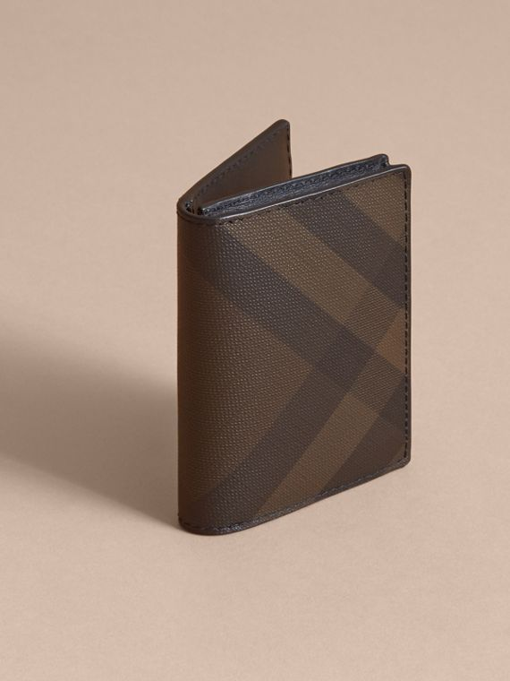 London Check and Leather Folding Card Case in Chocolate/black - Men | Burberry United Kingdom - cell image 2