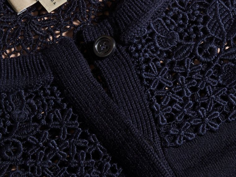 Navy Cardigan in lana Merino con sprone in pizzo Navy - cell image 1