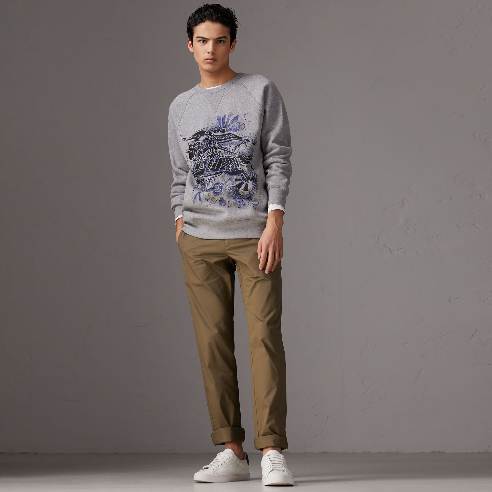 Slim Fit Cotton Chinos in Olive Green - Men | Burberry Singapore - gallery image 0