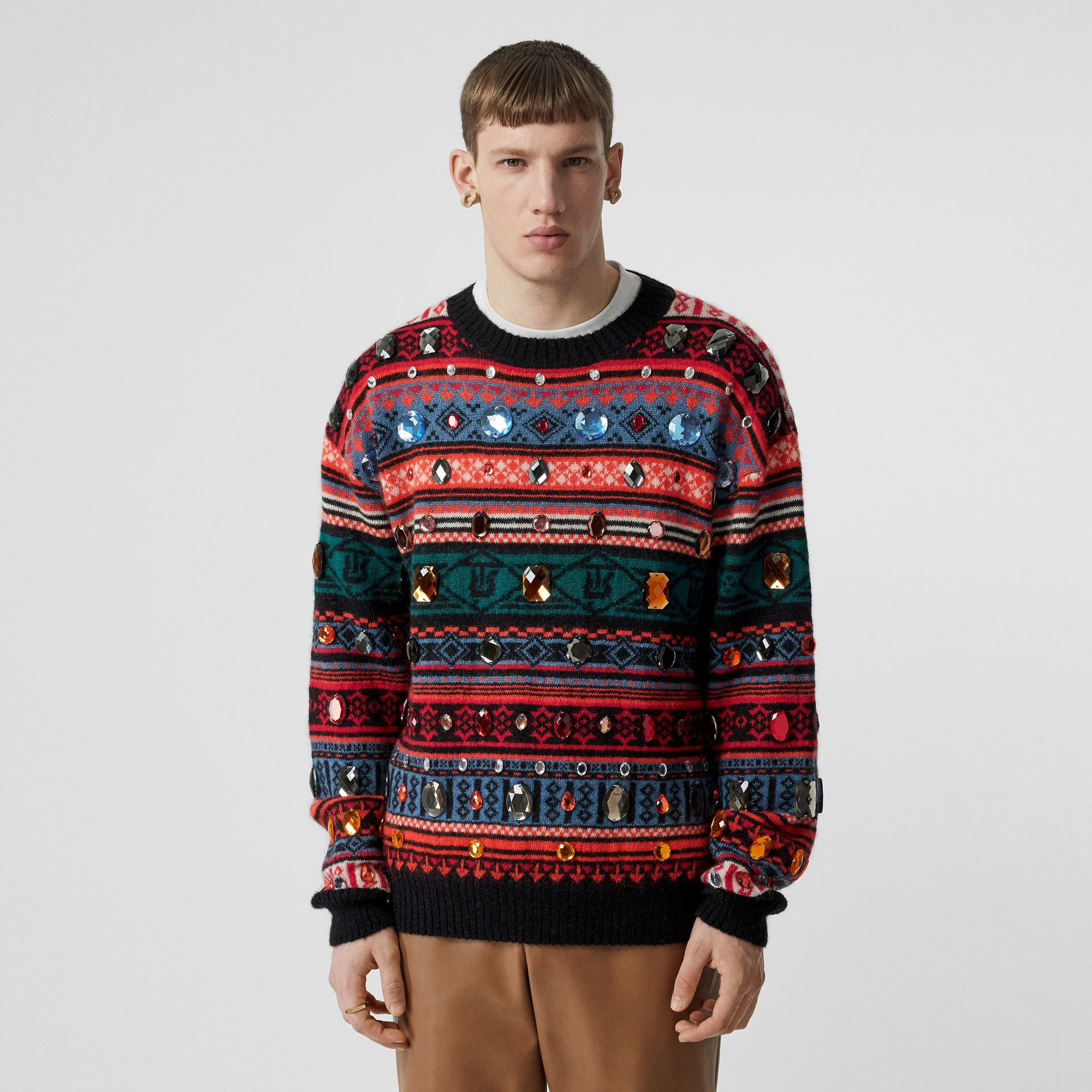 Embellished Fair Isle Mohair Wool Blend Sweater in Bright Orange - Men | Burberry Australia - gallery image 2