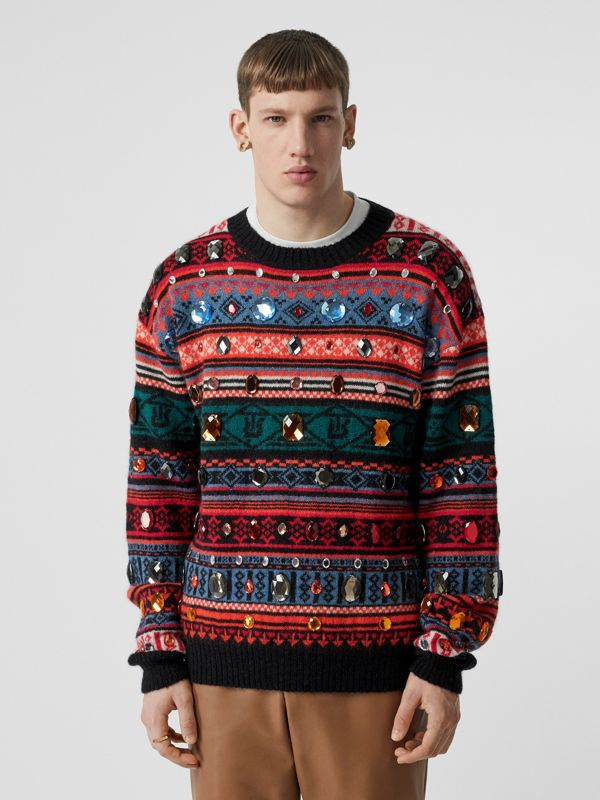 Embellished Fair Isle Mohair Wool Blend Sweater in Bright Orange - Men | Burberry Australia - cell image 2