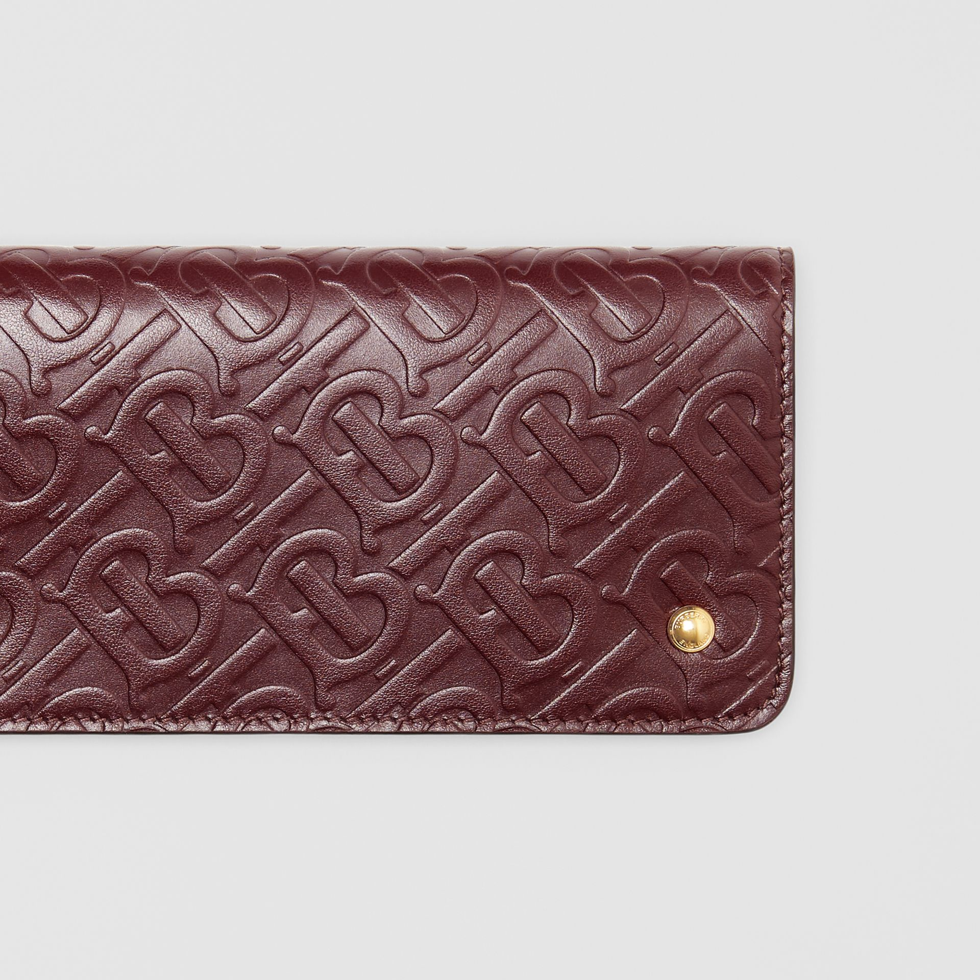 Monogram Leather Phone Wallet in Oxblood - Women | Burberry - gallery image 1