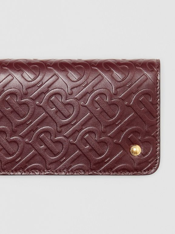 Monogram Leather Phone Wallet in Oxblood - Women | Burberry - cell image 1