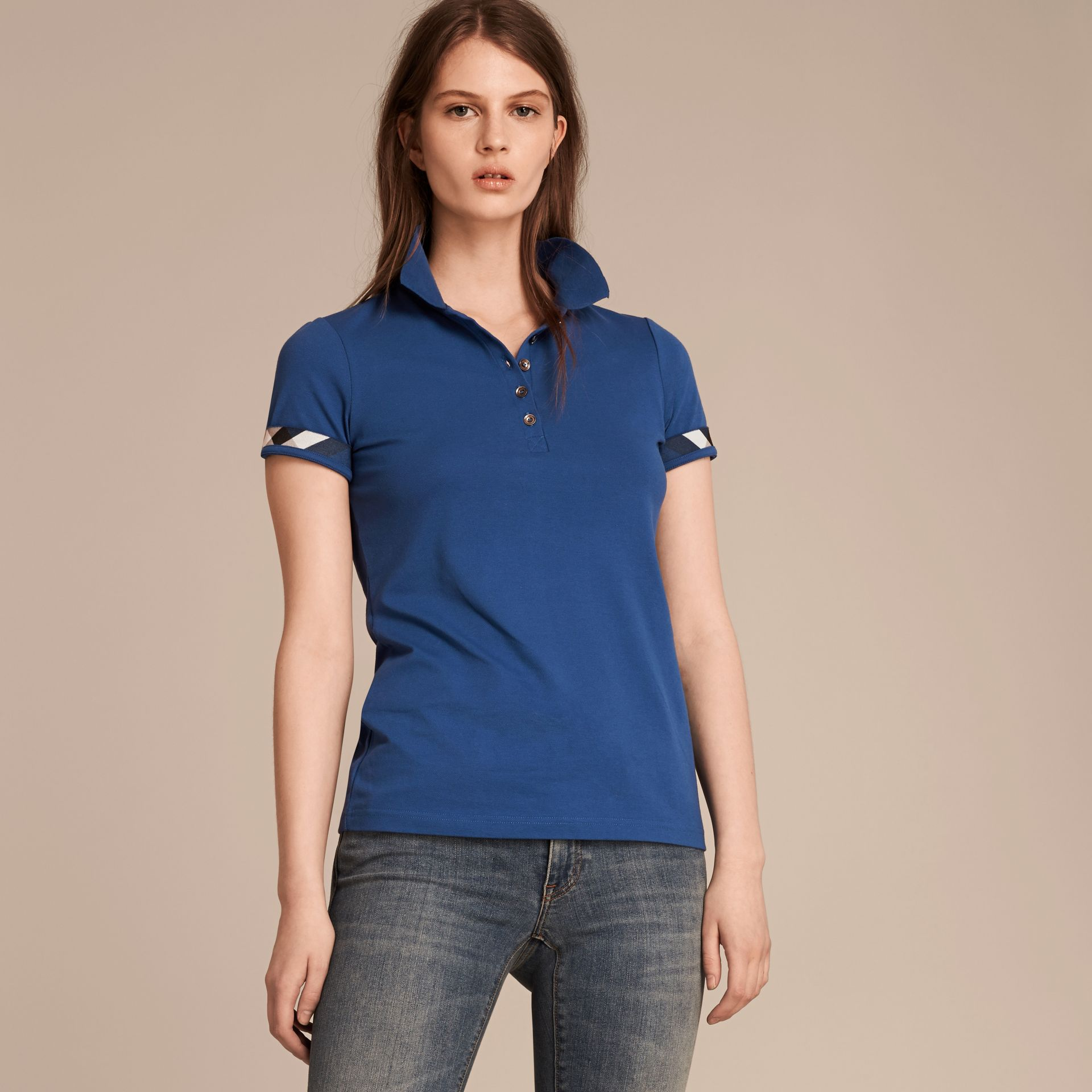 Bright cobalt Check Trim Stretch Cotton Piqué Polo Shirt Bright Cobalt - gallery image 6