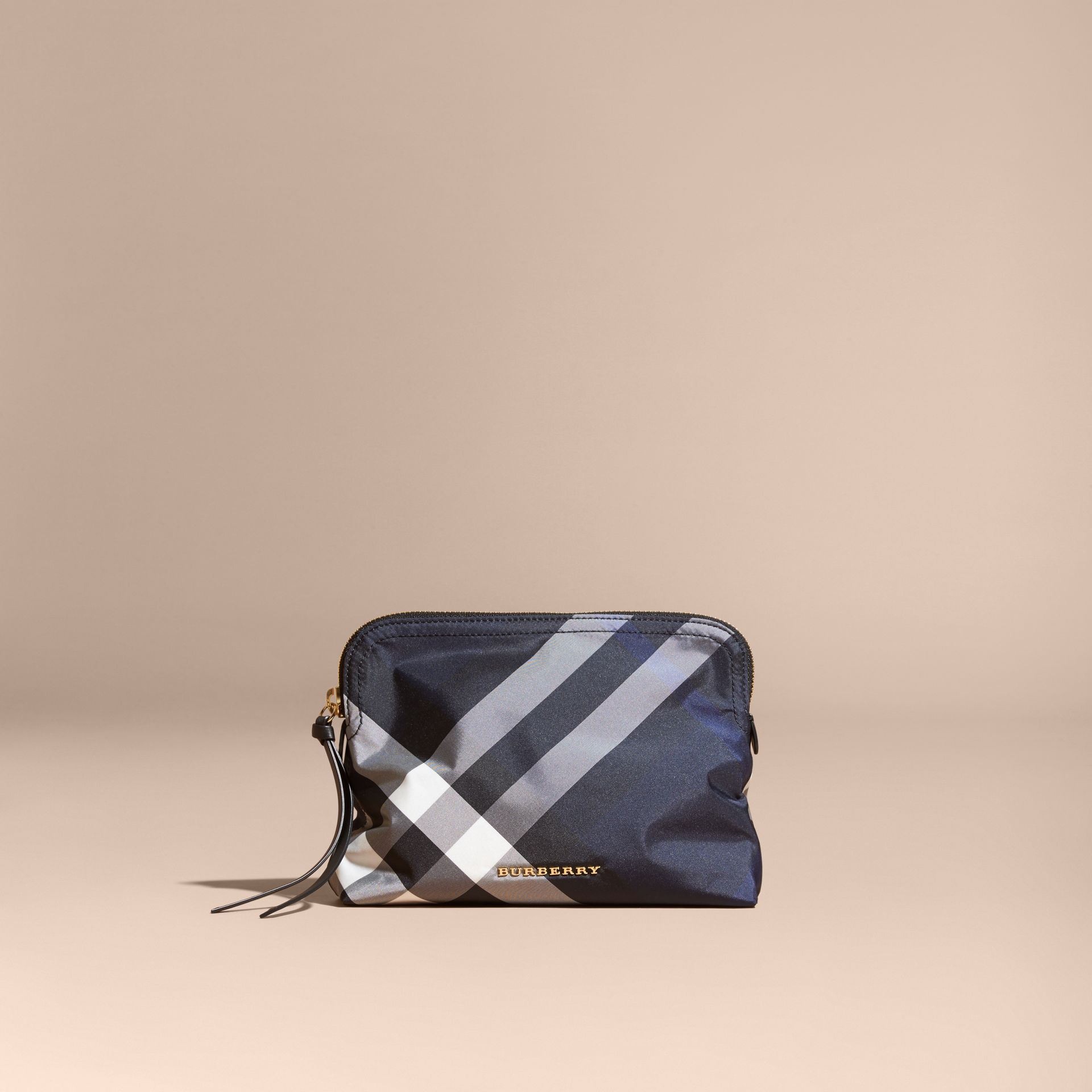 Large Zip-top Check Pouch in Indigo Blue - Women | Burberry - gallery image 6