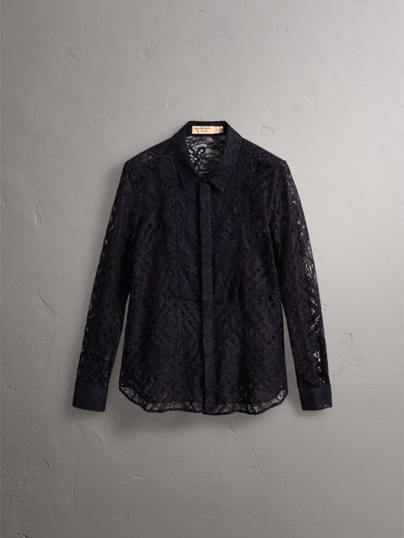 Scalloped Bib Check Lace Shirt - Women | Burberry - cell image 3