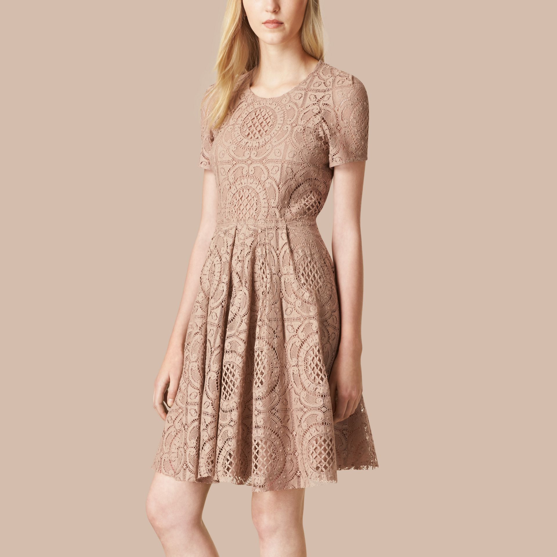 Nude English Lace A-Line Dress Nude - gallery image 1
