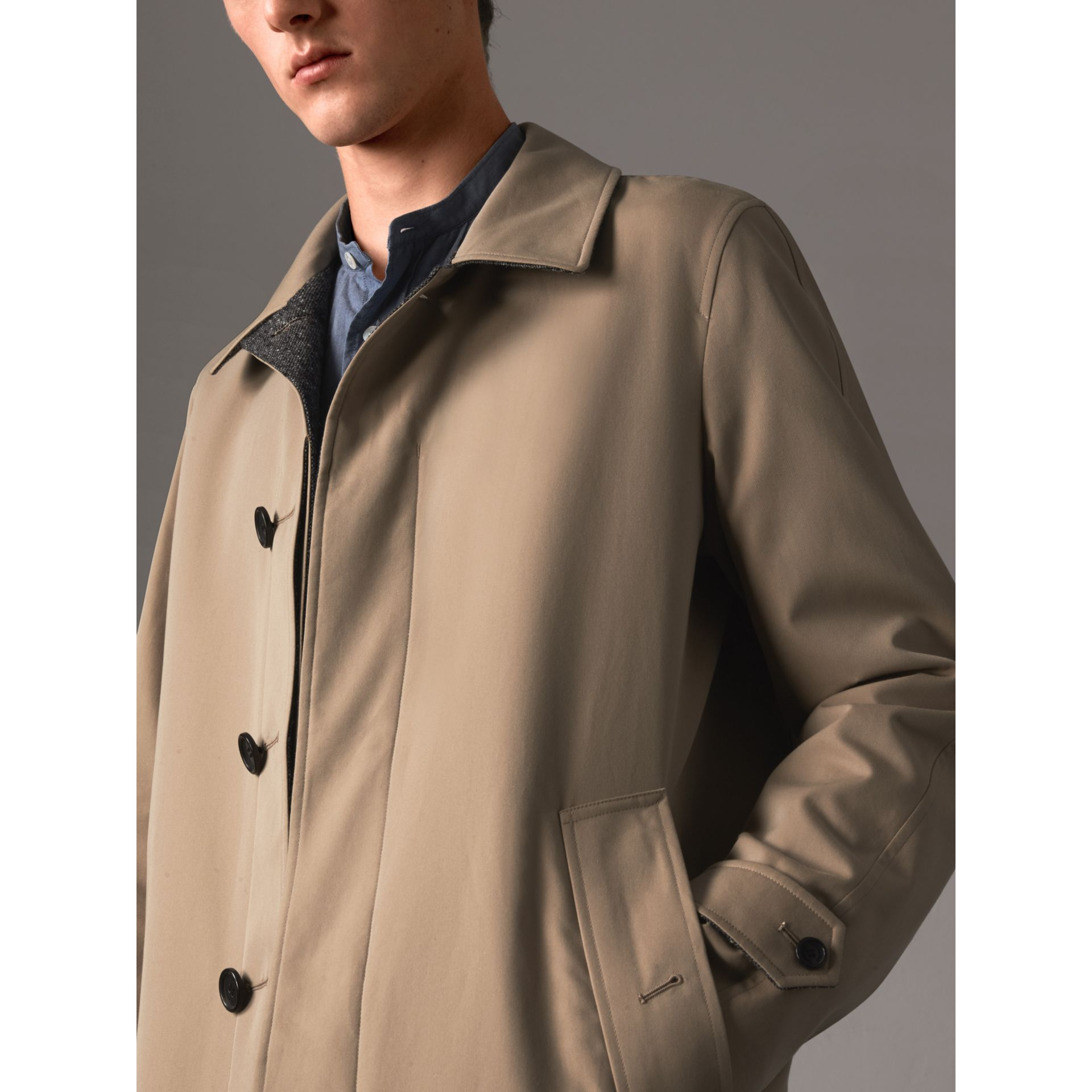 Reversible Gabardine and Donegal Tweed Car Coat in Honey - Men | Burberry Australia - gallery image 5