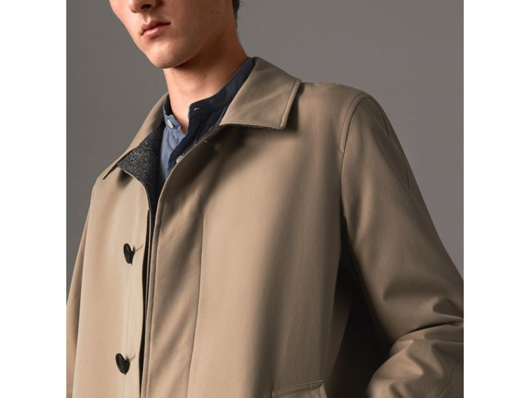 Reversible Gabardine and Donegal Tweed Car Coat in Honey - Men | Burberry Australia - cell image 4