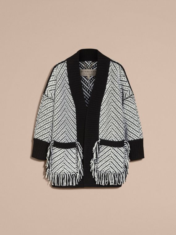 Black Graphic Knitted Wool Cardigan Coat - cell image 3