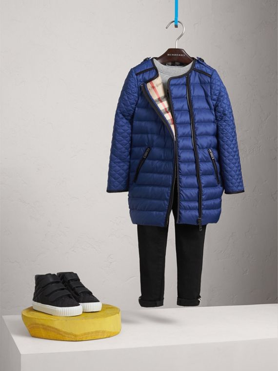 Quilted Down-filled Coat in Dark Cobalt - Girl | Burberry