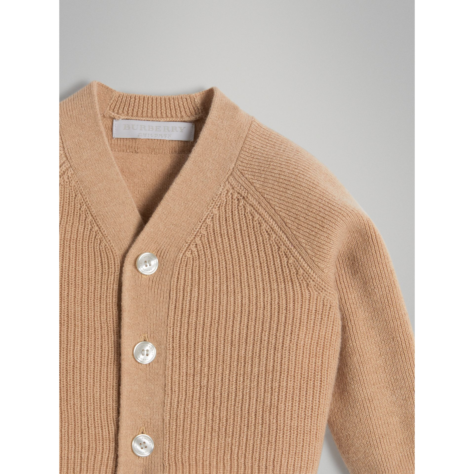 Cashmere Cotton Knit Cardigan in Peach | Burberry Singapore - gallery image 4