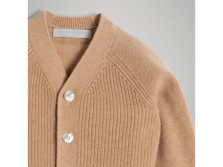 Cashmere Cotton Knit Cardigan in Peach | Burberry - cell image 4