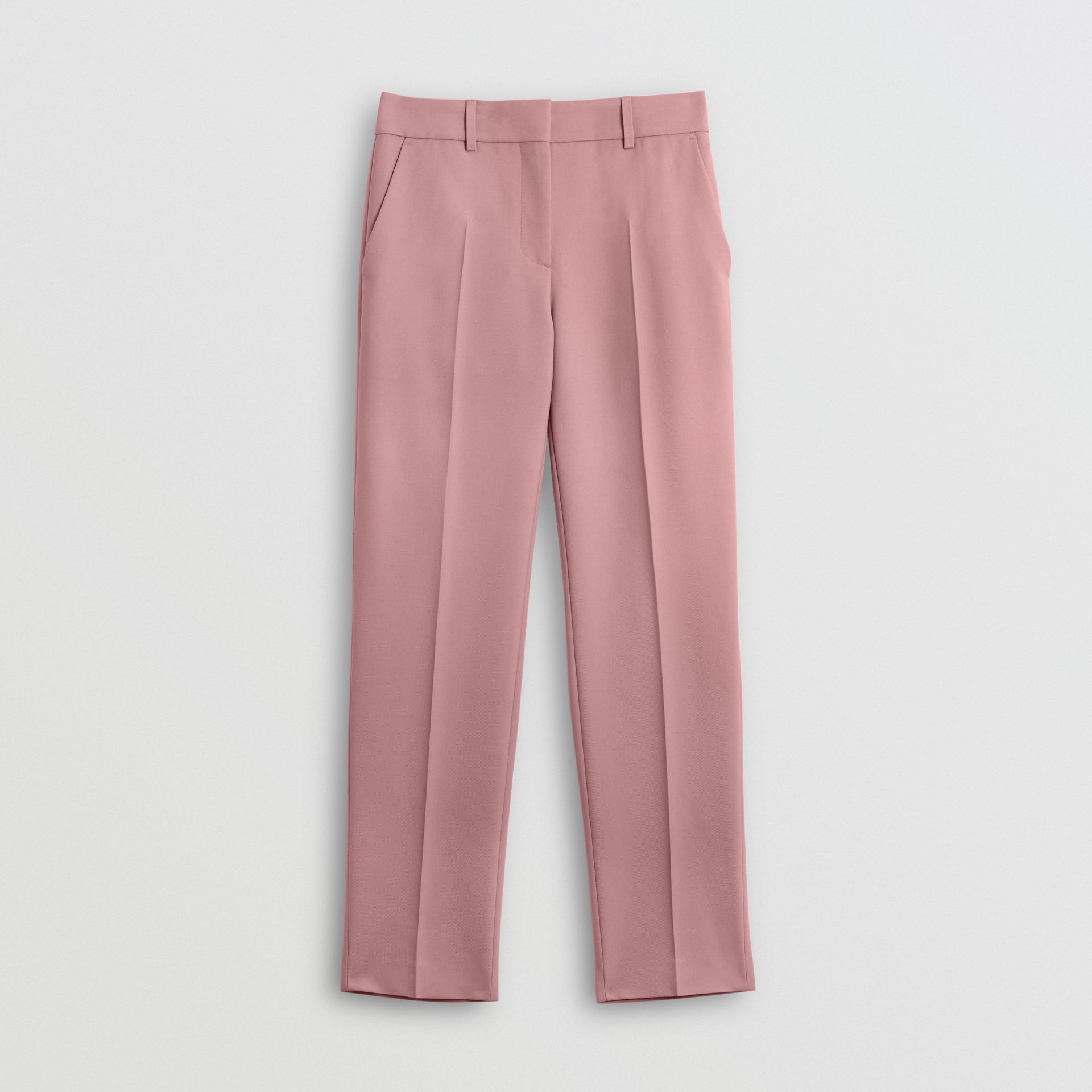 Straight Fit Wool Blend Tailored Trousers in Chalk Pink - Women | Burberry United Kingdom - gallery image 3
