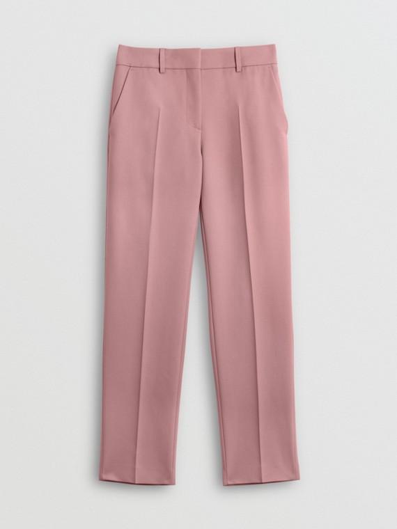 直版剪裁羊毛混紡套量裁製長褲 (粉白粉紅)