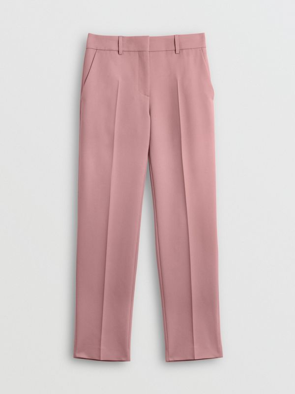 Straight Fit Wool Blend Tailored Trousers in Chalk Pink - Women | Burberry United States - cell image 3