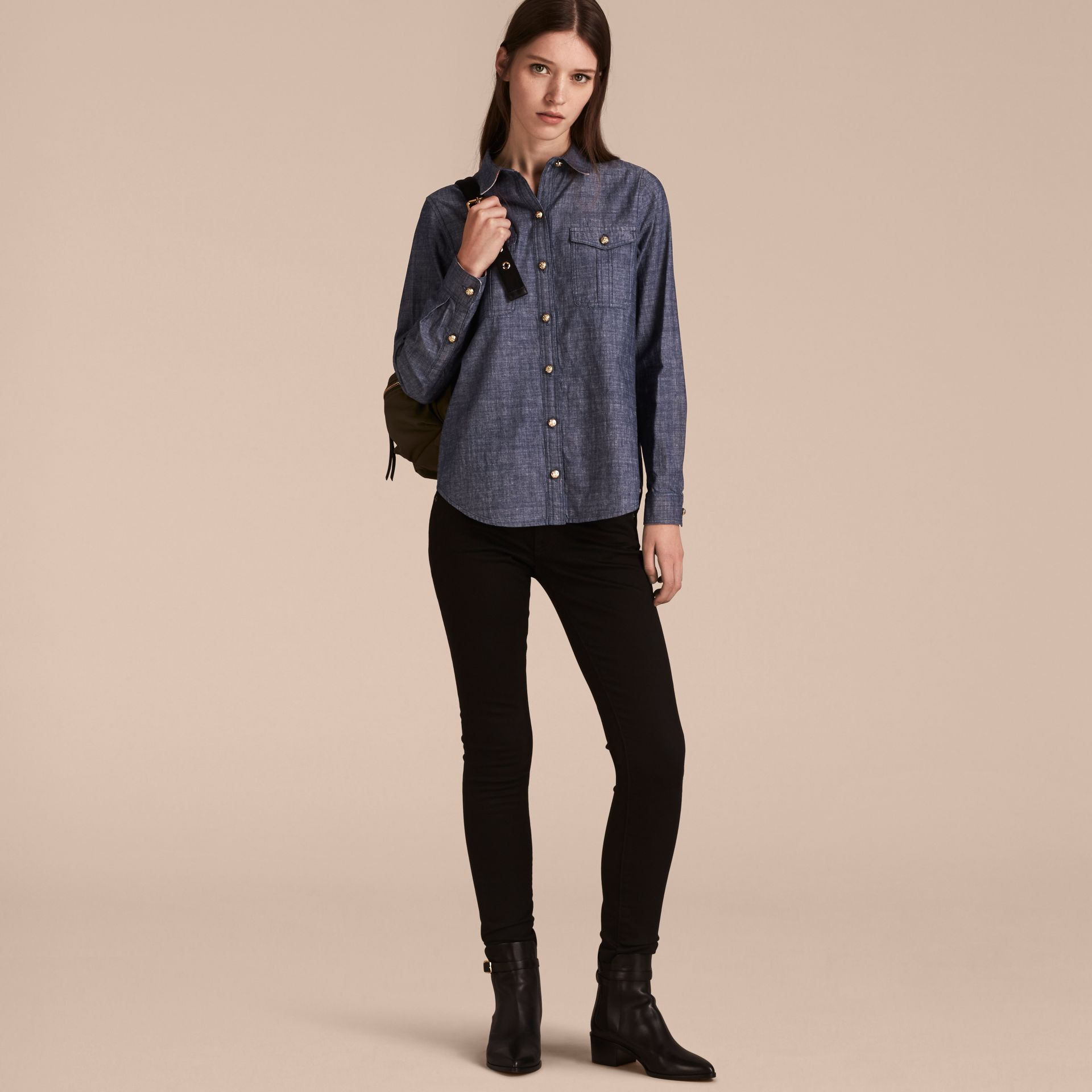 Check Detail Denim Shirt - Women | Burberry - gallery image 6