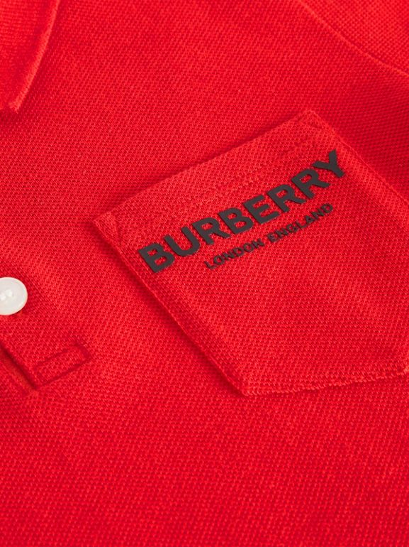 Icon Stripe Placket Cotton Piqué Polo Shirt in Bright Red - Boy | Burberry - cell image 1