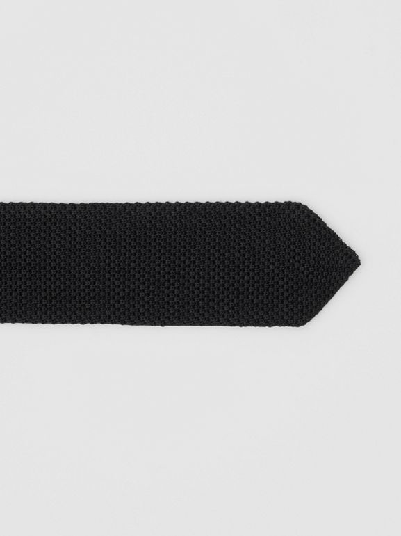 Slim Cut Knit Silk Tie in Black - Men | Burberry - cell image 1