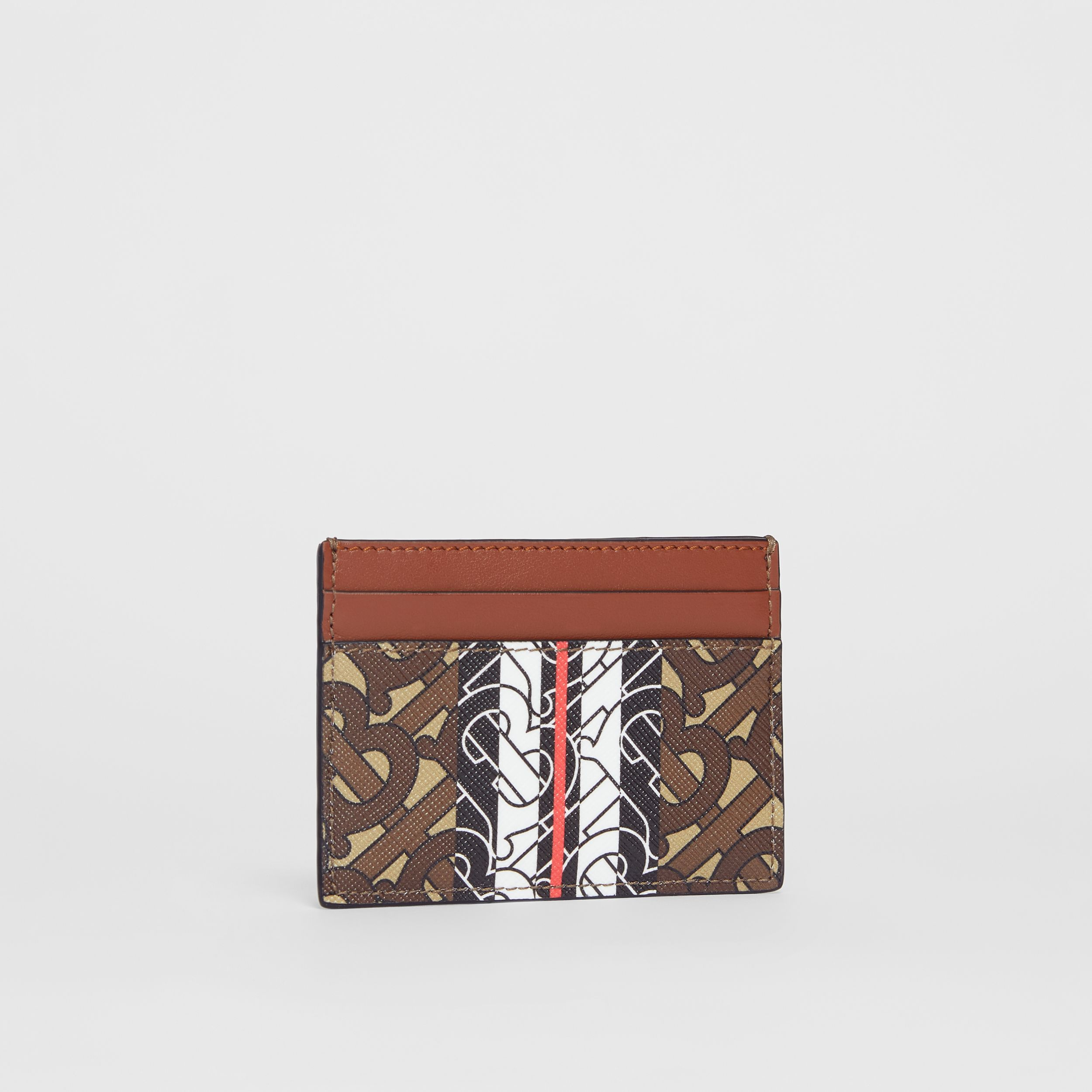 Monogram Stripe E-canvas Card Case in Bridle Brown | Burberry Singapore - 4