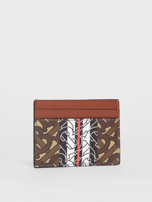 Monogram Stripe E-canvas Card Case in Bridle Brown - Women | Burberry - cell image 3