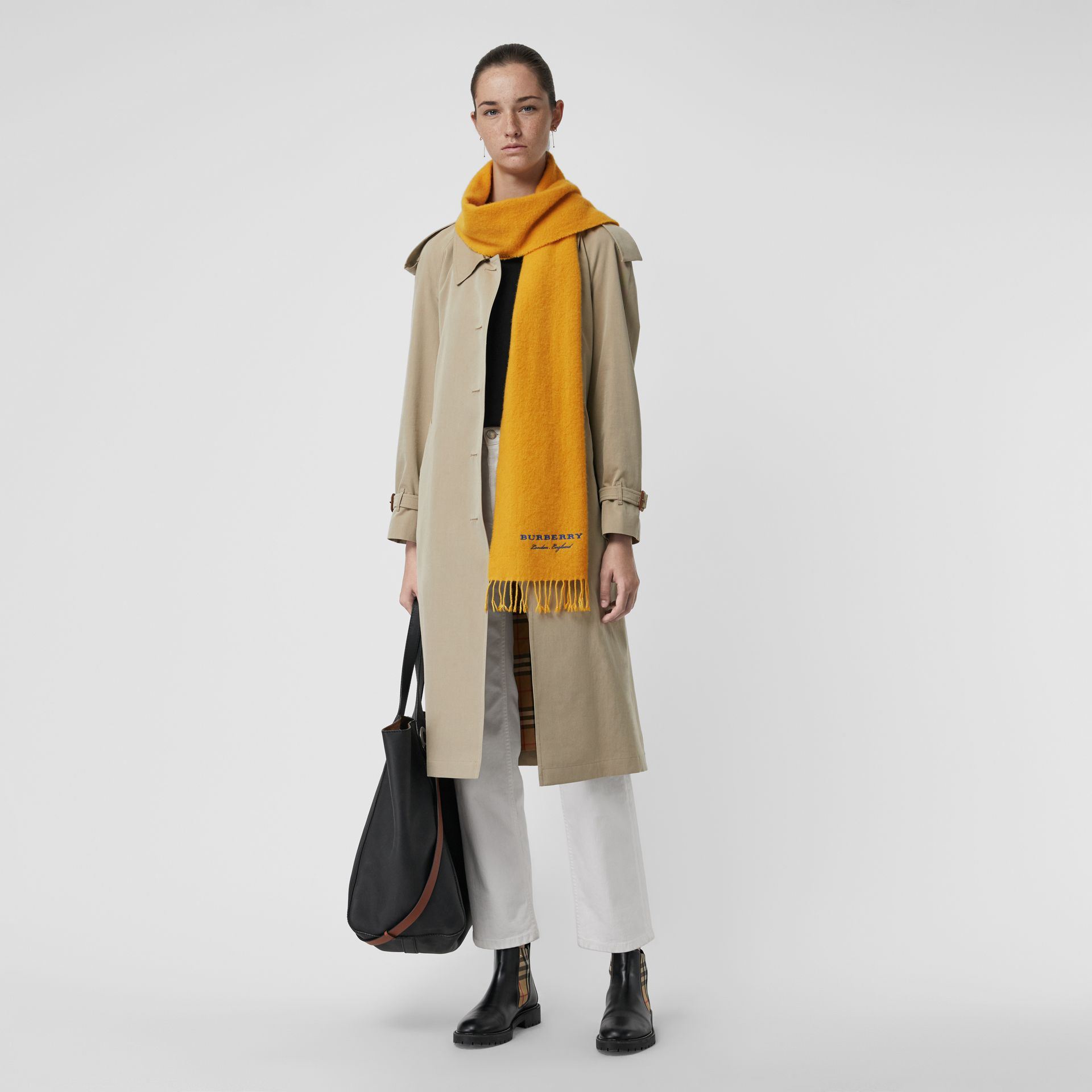 Embroidered Cashmere Fleece Scarf in Saffron Yellow | Burberry Australia - gallery image 2