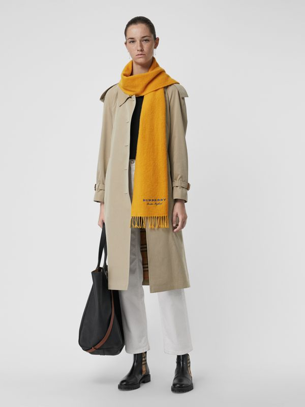 Embroidered Cashmere Fleece Scarf in Saffron Yellow | Burberry Australia - cell image 2