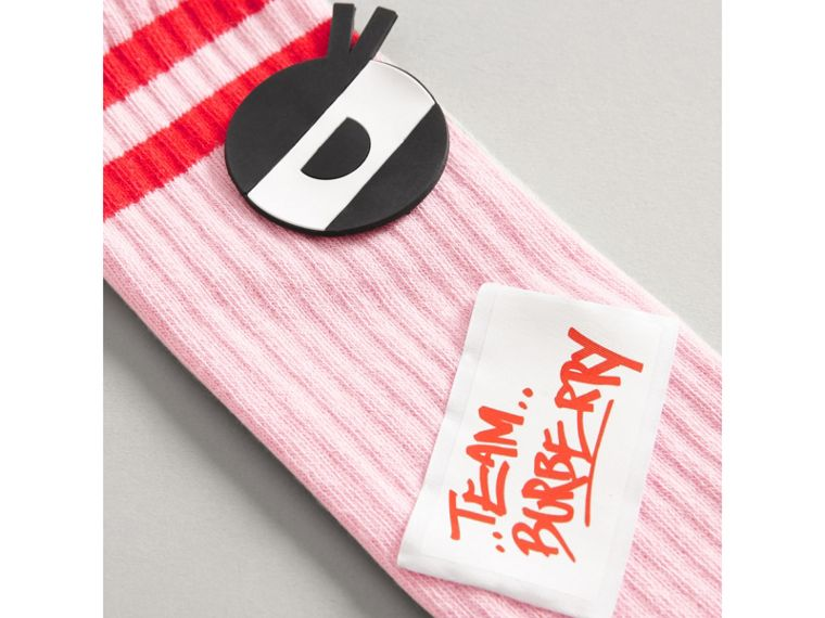 Eye Appliqué and Patch Detail Cotton Blend Socks in Pink - Girl | Burberry - cell image 1