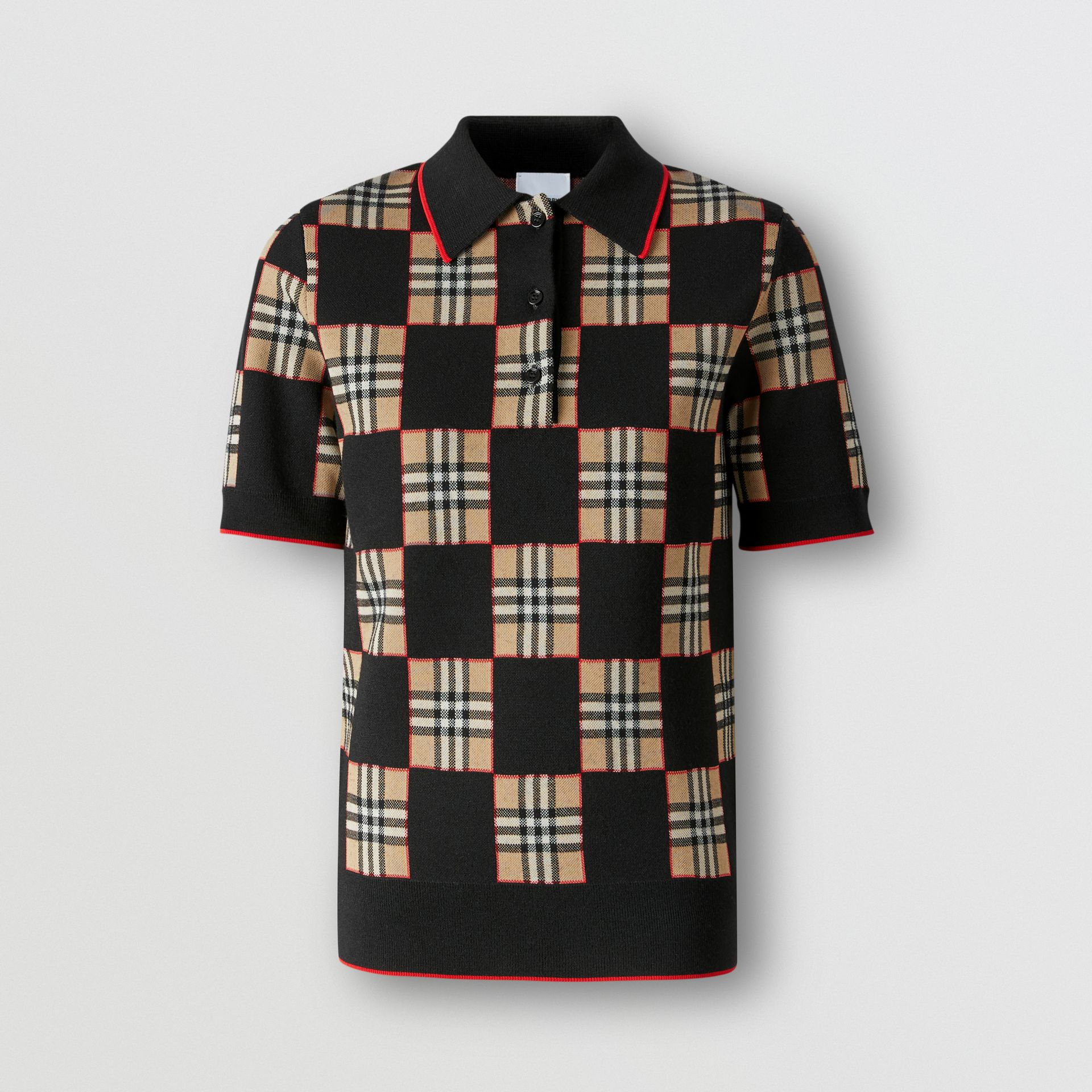 Chequer Merino Wool Blend Jacquard Polo Shirt in Black/archive Beige - Women | Burberry United Kingdom - gallery image 3