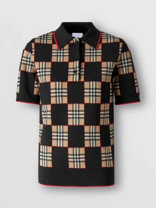 Chequer Merino Wool Blend Jacquard Polo Shirt in Black/archive Beige - Women | Burberry Hong Kong S.A.R - cell image 3