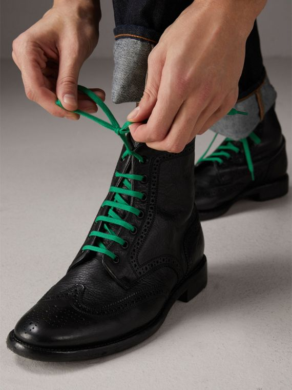 Leather Brogue Boots with Bright Laces in Black - Men | Burberry Hong Kong - cell image 2