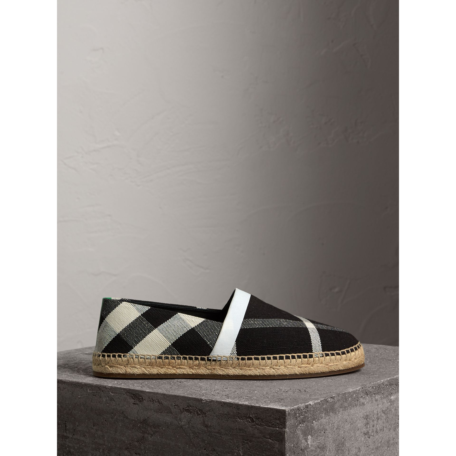 Check Cotton Canvas Seam-sealed Espadrilles in Black - Men | Burberry United Kingdom - gallery image 4