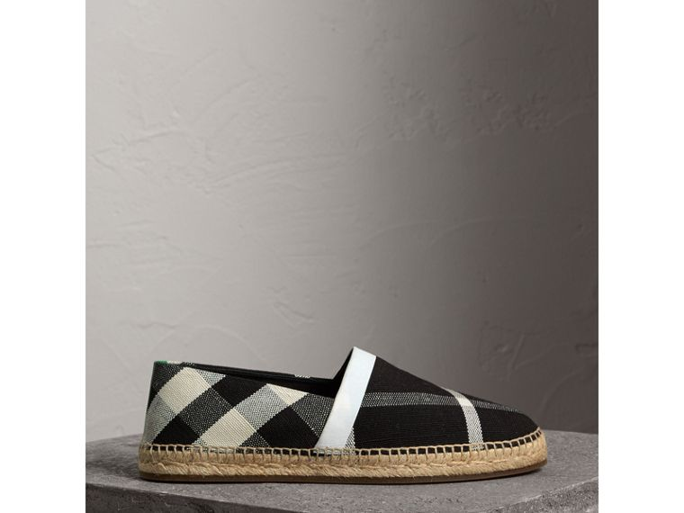 Check Cotton Canvas Seam-sealed Espadrilles in Black - Men | Burberry - cell image 4