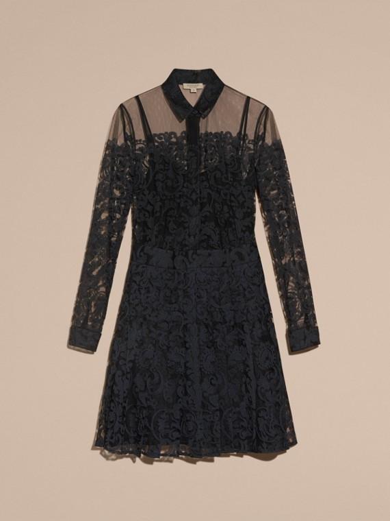 Noir Robe chemise en dentelle - cell image 3