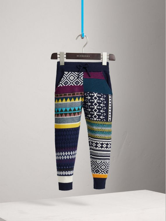 Fair Isle Wool Cashmere Patchwork Sweatpants in Navy | Burberry - cell image 2