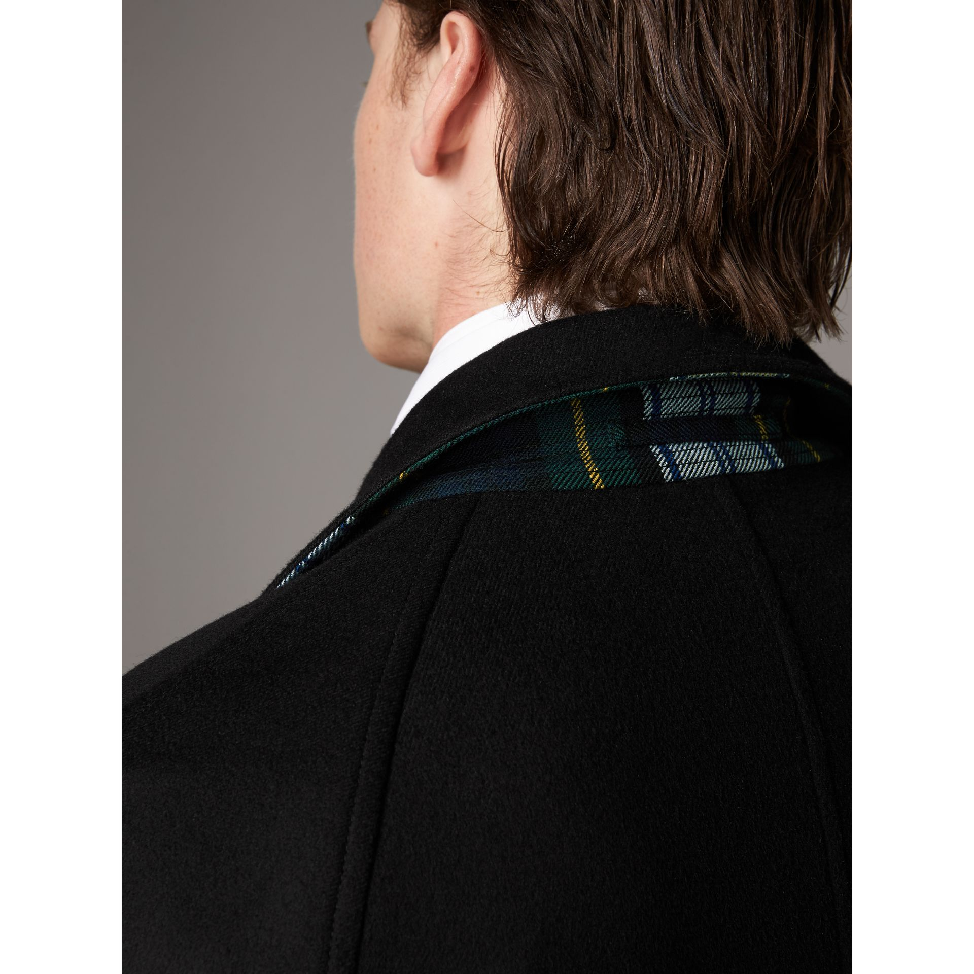Reversible Cashmere and Tartan Wool Car Coat in Black - Men | Burberry Australia - gallery image 6