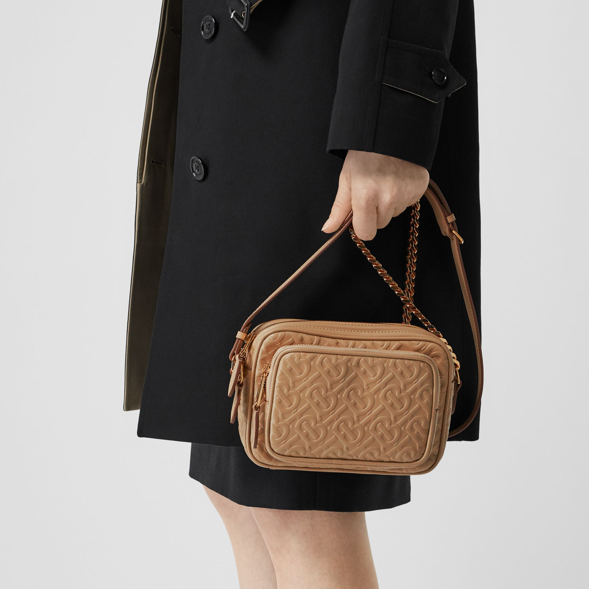 Monogram Leather Camera Bag in Honey - Women | Burberry - gallery image 2