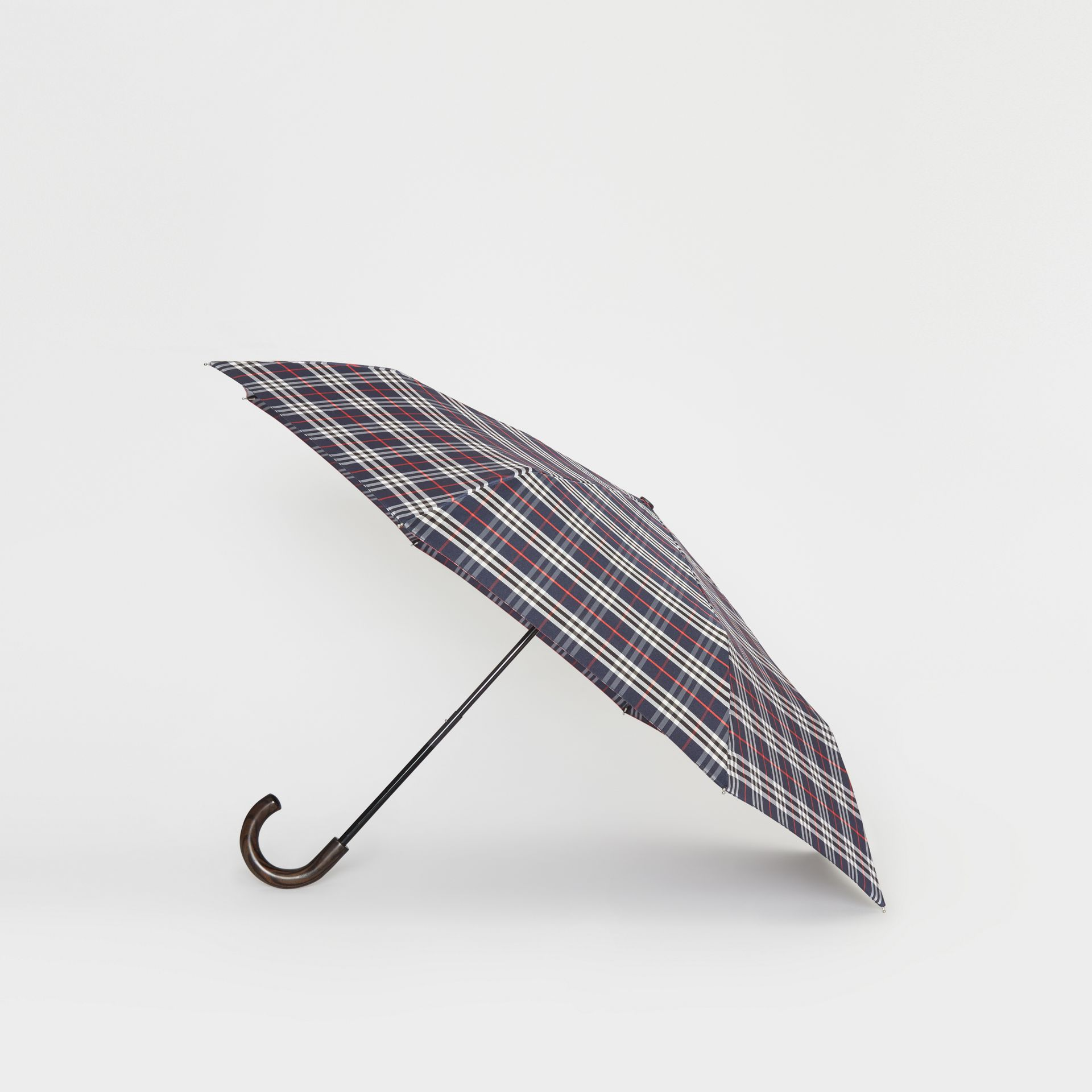 Check Folding Umbrella in Navy | Burberry Singapore - gallery image 3
