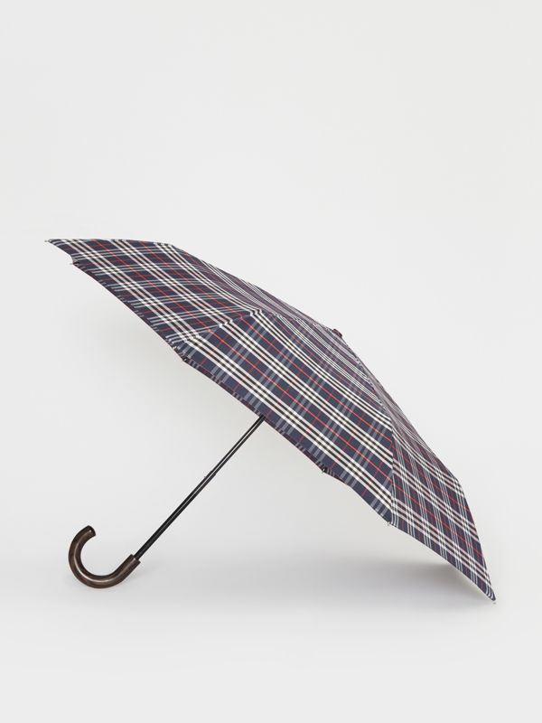 Check Folding Umbrella in Navy | Burberry United Kingdom - cell image 3