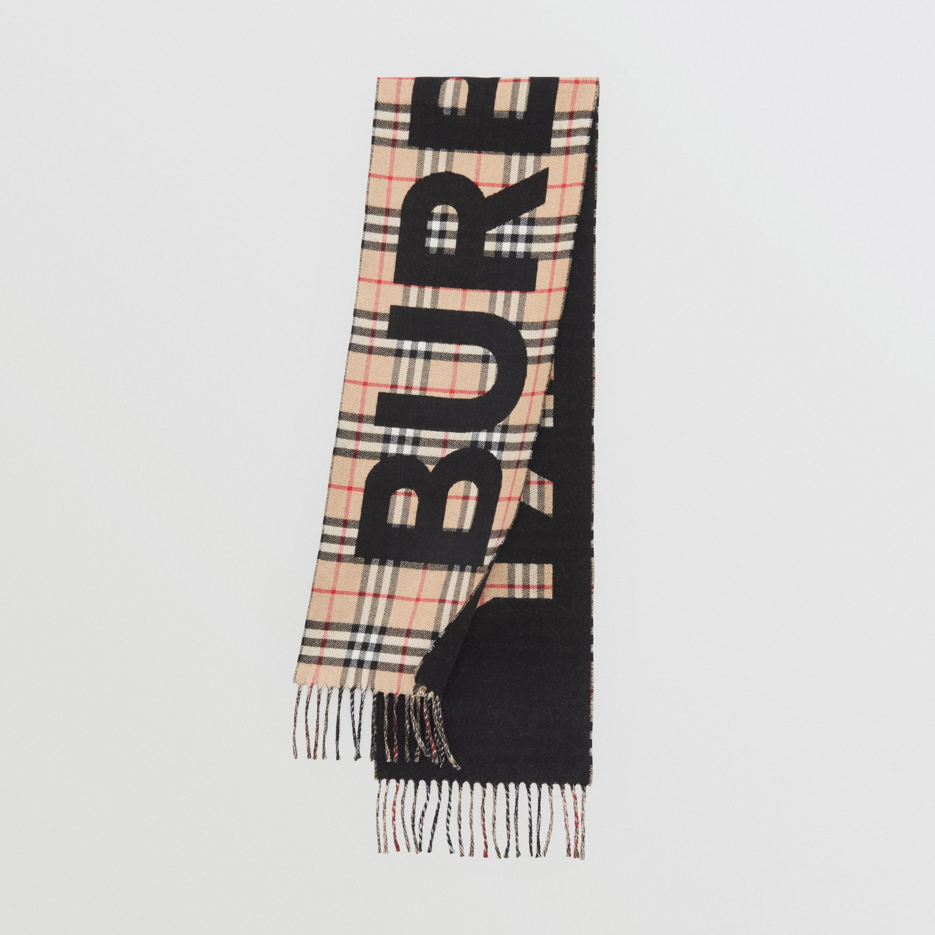 Logo Detail Vintage Check Wool Jacquard Scarf in Camel - Children | Burberry - gallery image 0