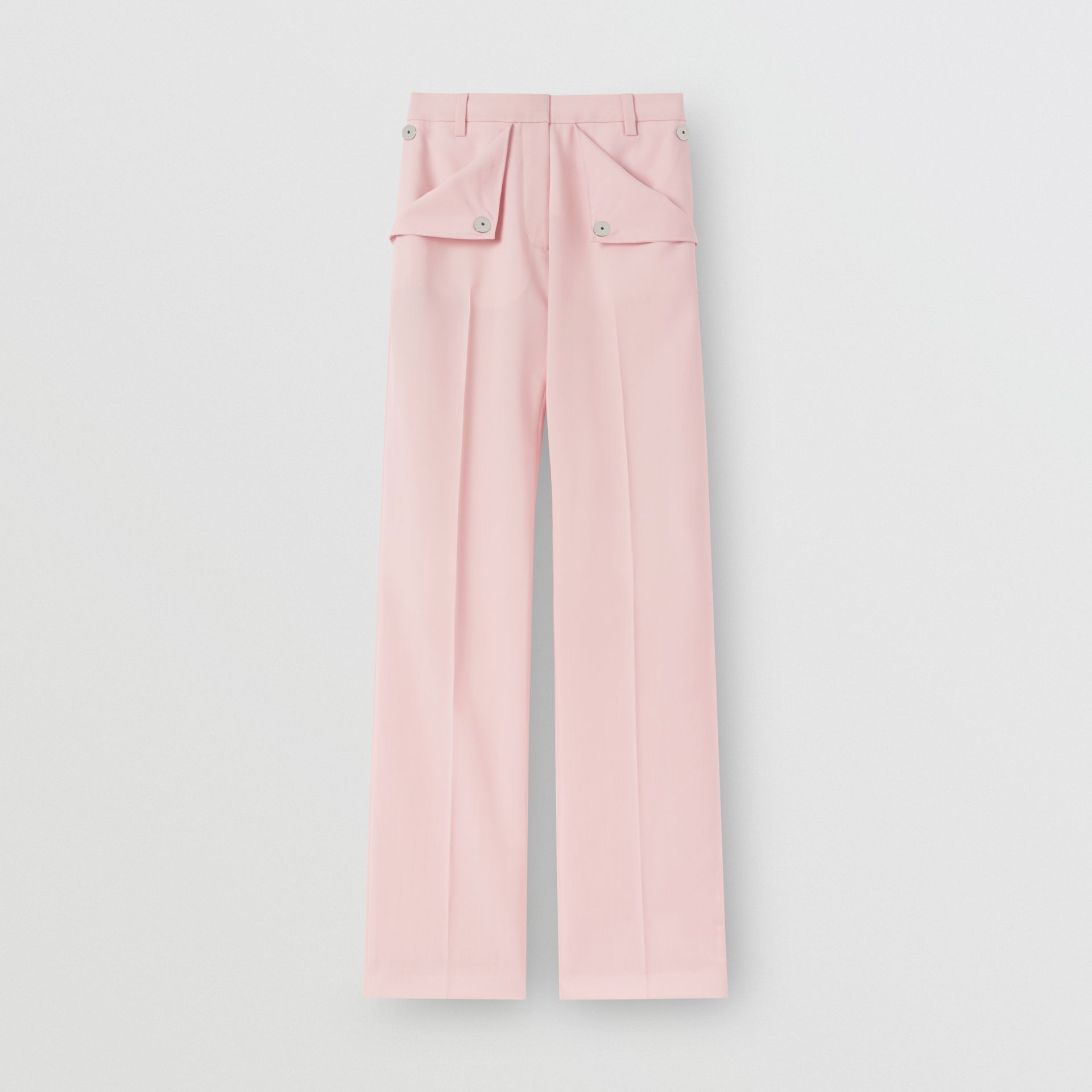 Pocket Detail Tumbled Wool Tailored Trousers in Soft Pink | Burberry United Kingdom - gallery image 5