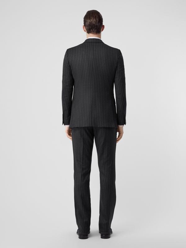 English Fit Pinstriped Wool Suit in Mid Grey Melange - Men | Burberry Australia - cell image 2